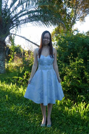 sky blue garden party Review dress - teal sugar bow asos heels - silver heart Pr