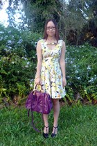 yellow Ebay dress - purple purple leather asos bag - black patent Scooter heels