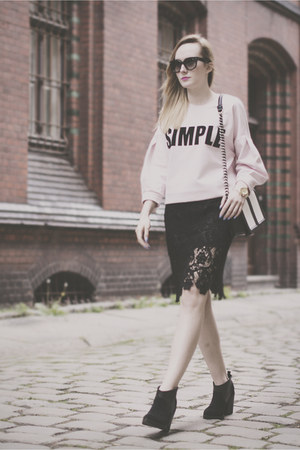 black Promod skirt - black Topshop shoes - light pink Simple CP sweatshirt