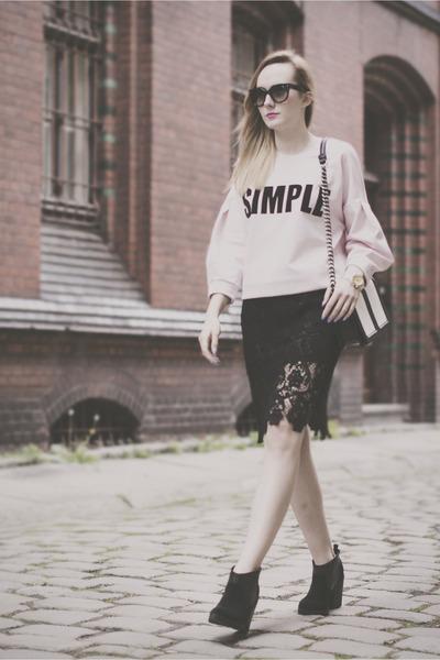 black Promod skirt - black Topshop shoes - light pink Simple CP sweatshirt