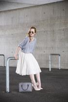 ivory H&M skirt - heather gray Zara bag - cream River Island heels