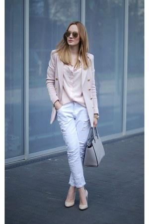 white Zara jeans - heather gray Michael Kors bag - cream River Island heels