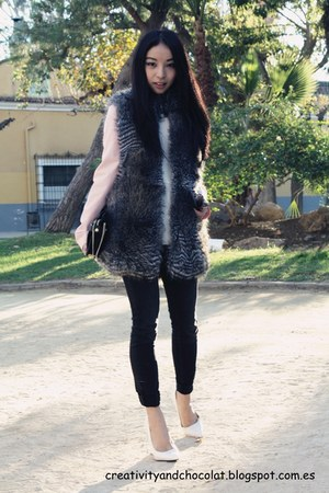 faux fur Mango vest - pull&bear jeans - pink blazer Zara blazer - Zara bag