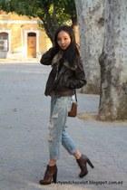 Zara boots - boyfriend jeans Zara jeans - Mango jacket - Bimba&Lola bag