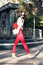 white linen Zara blazer - red Dayaday bag - heather gray Mango sunglasses