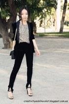 velvet Zara blazer - velvet Mango pants - Zara sandals