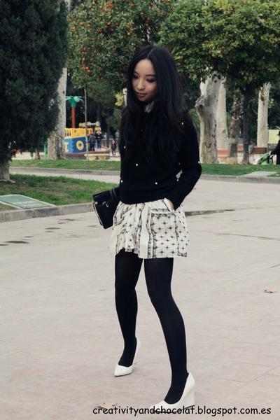 white Mango wedges - Zara skirt - Zara jumper