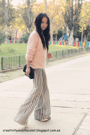 Zara bag - stripes Zara pants - white Mango wedges - angora pink H&M jumper