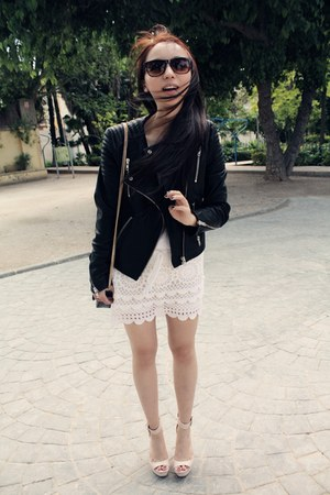 BLANCO skirt - leather jacket H&amp;M jacket - Zara bag - H&amp;M sunglasses - Zara top