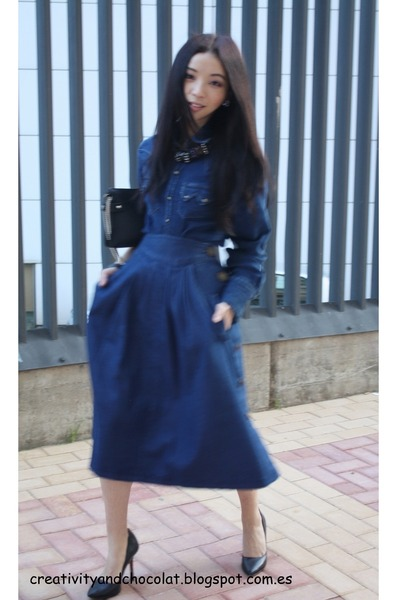 denim Zara shirt - Zara bag - denim Zara skirt - statement H&M necklace