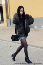 Zara boots - CK jeans coat - Zara bag - Zara shorts