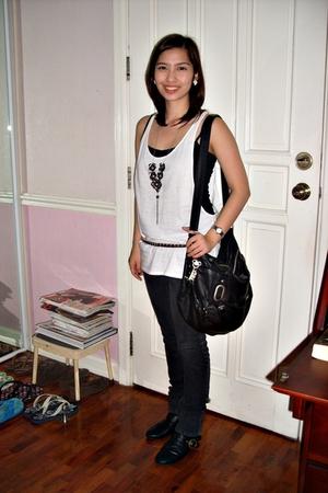 supre top - supre - belt - Topshop purse - boots - Accessorize necklace