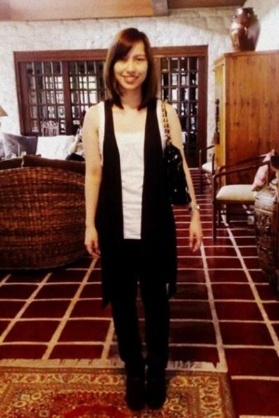 Topshop top - Zara vest - Topshop jeans - purse - boots