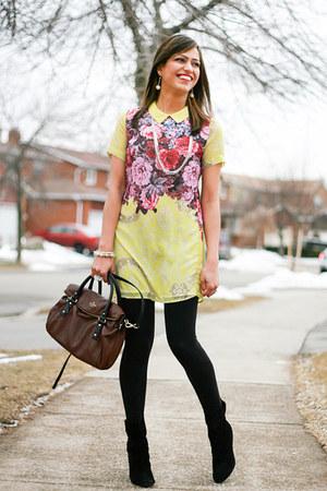 Nine West boots - mendocino dress - kate spade bag