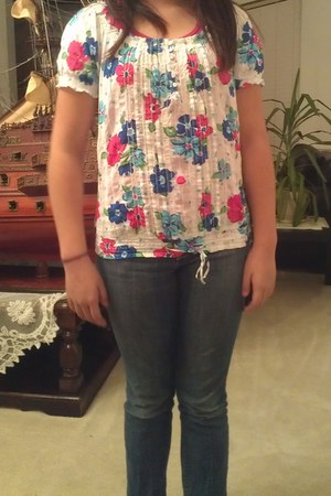 Aeropostale blouse - Old Navy jeans - pink Old Navy intimate