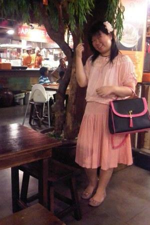 pink flats - bubble gum bag - peach blouse - light pink skirt
