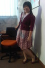 Maroon-scallop-blazer-parisian-scarf-flower-vintage-skirt-teal-basic-top