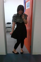 black dress - black tights - Zebra patterned scarf - black flats