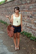 brown thrifted shoes - navy JCrew shorts - brown thrifted belt - light yellow H&