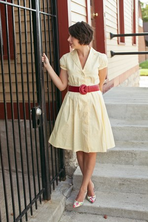 light yellow polka dot thrifted vintage dress - red thrifted vintage belt