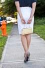 Navy-thrifted-top-dark-khaki-vintage-purse-white-thrifted-vintage-skirt