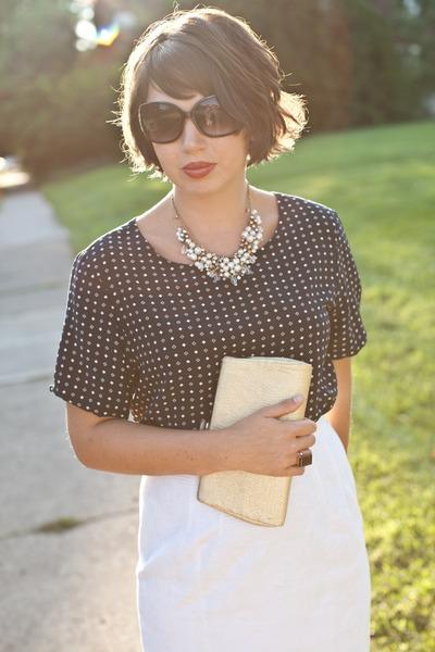 navy thrifted top - dark khaki vintage purse - white thrifted vintage skirt