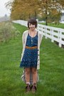 Blue-abercrombie-and-fitch-dress-brown-kohls-boots-beige-aerie-cardigan