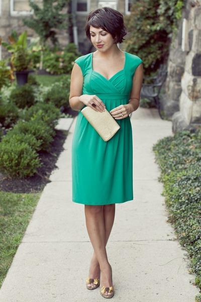 teal Macys dress - dark khaki thrifted vintage bag - dark khaki thrifted heels