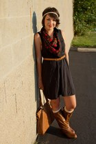 brown Target boots - black H&M dress - brick red thrifted scarf