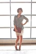 eggshell lace details Target skirt - crimson thrifted vintage bag