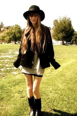 vintage hat - Paris Blues jacket - American Apparel shirt - Target dress - Damse
