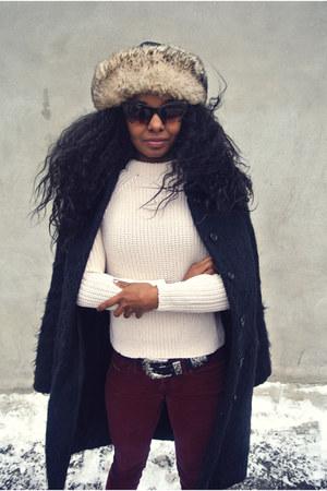 Zara boots - H&M coat - Zara sweater