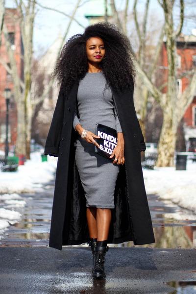 Sheinside dress - BCBG coat - Ebay bag