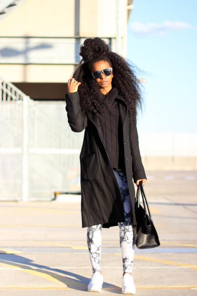 BCBG coat - thrifted sweater - H&M leggings - Forever 21 bag - Reebok sneakers