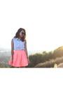 Salmon-nasty-gal-skirt-sky-blue-vintage-shirt-camel-forever-21-heels