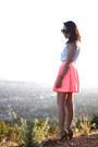 Sky-blue-vintage-shirt-salmon-nasty-gal-skirt-camel-forever-21-heels