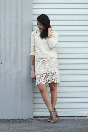 white thrifted dress - white Forever 21 sweater - camel thrifted heels