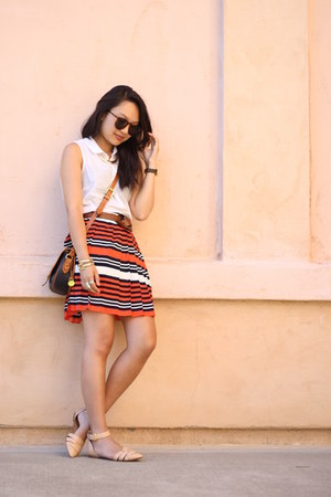 carrot orange Forever 21 skirt - dark brown Gap belt - nude Zara flats