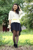 yellow thrifted belt - black Aldo boots - black Forever 21 dress