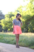 bubble gum Nasty Gal skirt - silver Forever 21 t-shirt - gold H&M necklace