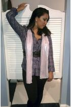 purple Hurley blouse - pink scarf - black Miss Juli leggings - black belt