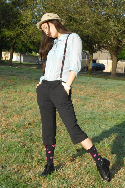black JC Penny boots - light blue button up Forever 21 shirt