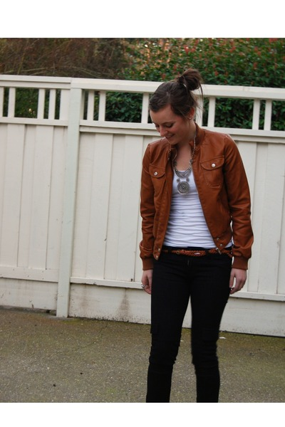 black Hudson jeans - brown leather Sakks Off Fifth jacket - brown braided Nordst