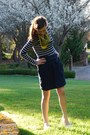 Forever-21-dress-yellow-vintage-scarf-navy-blue-zara-skirt