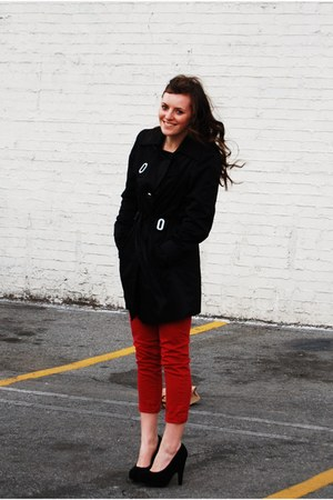 my moms coat - black Charlotte Russe heels - red Forever 21 pants