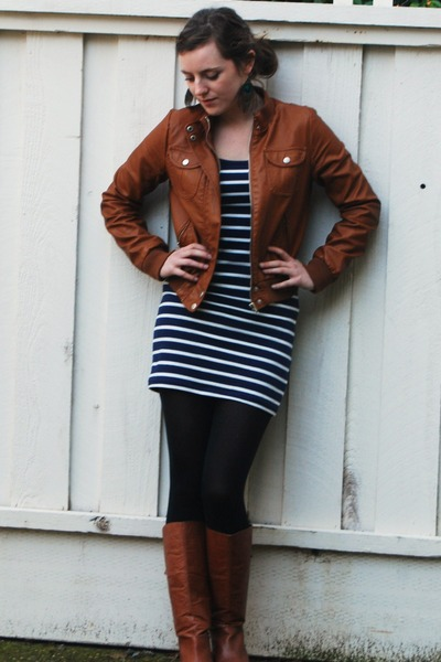 leather Steve Madden boots - striped Forever 21 dress - brown leather jacket - p