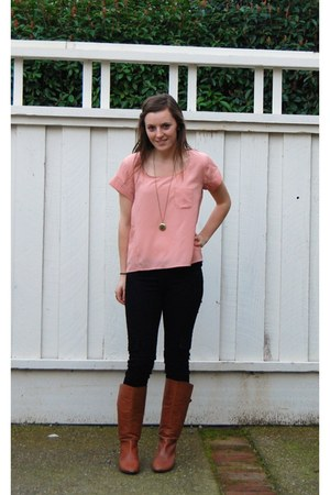 leather Steve Madden boots - black Hudson jeans - peach Nordstrom top