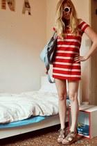 red striped Zara dress - light blue custom leather Swiss bag - white round sungl