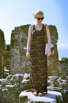 bronze leopard print H&M dress - eggshell H&M bag - black round Urban Outfitters