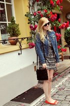 white tribal H&M dress - navy denim Aeropostale jacket - black fringed Globus ba
